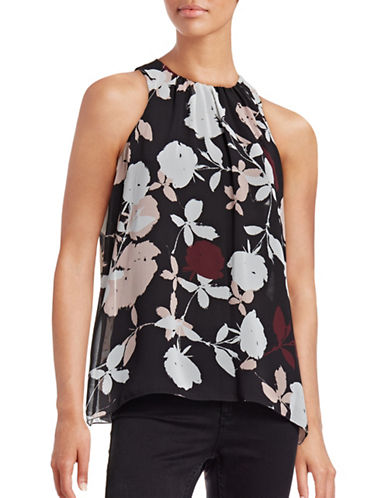 Vince Camuto Floral Pleat-Neck Top-PINK-Large 88699348_PINK_Large
