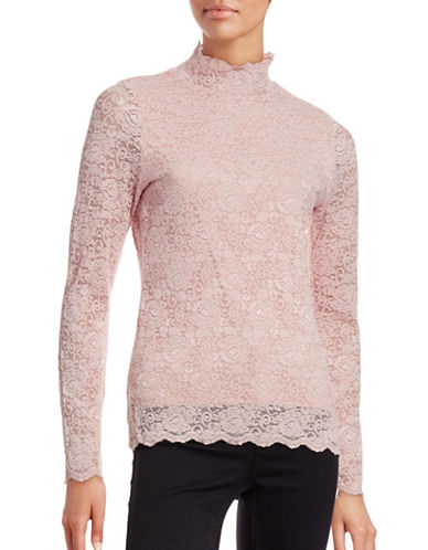 Vince Camuto Lace Mock Neck Top-PINK-Large 88750070_PINK_Large