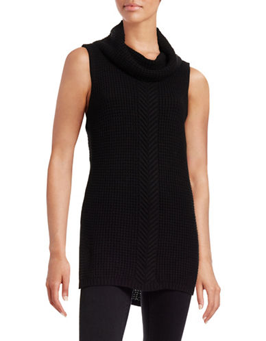 Two By Vince Camuto Sleeveless Turtleneck Sweater-BLACK-Large