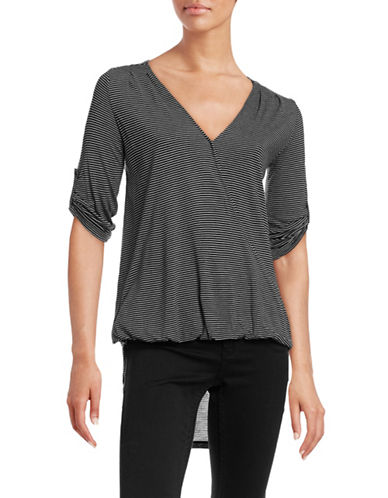 Two By Vince Camuto Surplice Hi-Lo Top-BLACK-X-Small 88700423_BLACK_X-Small