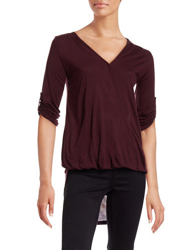 Two By Vince Camuto Surplice Hi-Lo Top-PURPLE-Small