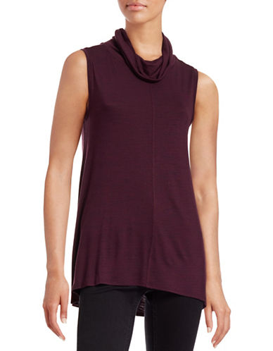 Two By Vince Camuto Heathered Sleeveless Cowl Neck Top-PURPLE-X-Large 88700434_PURPLE_X-Large