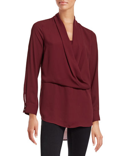 Vince Camuto Cowl Surplice Crepe Top-RED-Medium 88741587_RED_Medium