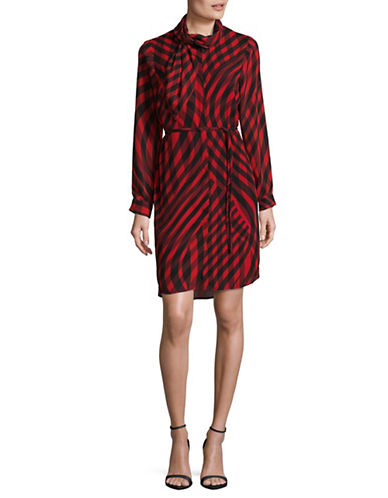 Vince Camuto Swept Check Belted Dress-RED MULTI-Small