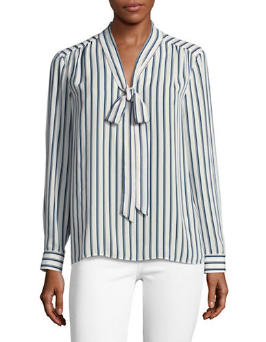Vince Camuto Striped Tie-Neck Blouse-WHITE MULTI-Medium