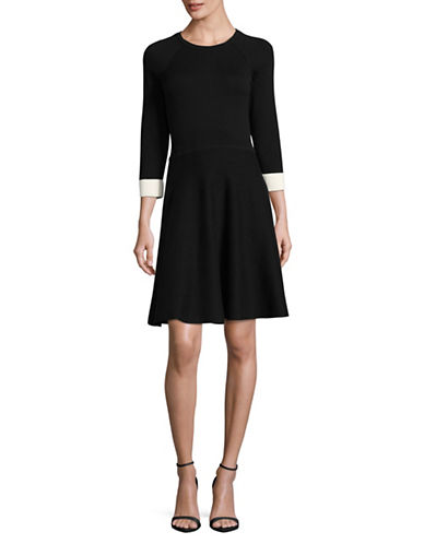 Vince Camuto Flared Sweater Dress-BLACK-Medium