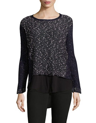 Two By Vince Camuto Textured Knit Top-BLUE-X-Small