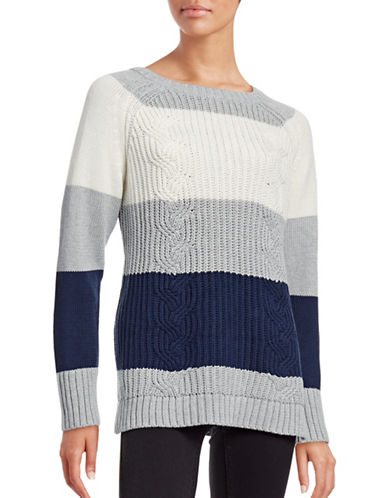 Two By Vince Camuto Colourblocked Cable-Knit Sweater-GREY-Large 88742366_GREY_Large