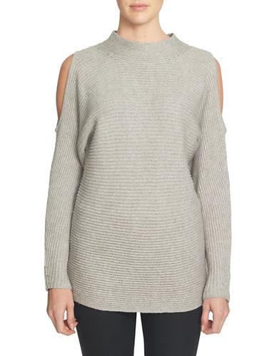 1 State Cold-Shoulder Mock Neck Sweater-GREY-X-Large 88765595_GREY_X-Large