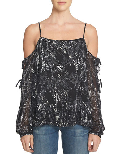 1 State Printed Cold-Shoulder Blouse-BLACK-X-Small