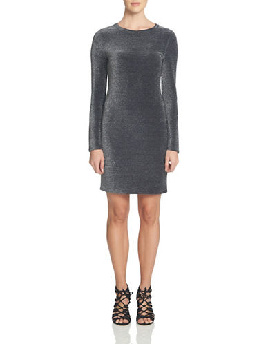 1 State Long Sleeve Bodycon Dress-SILVER-Large