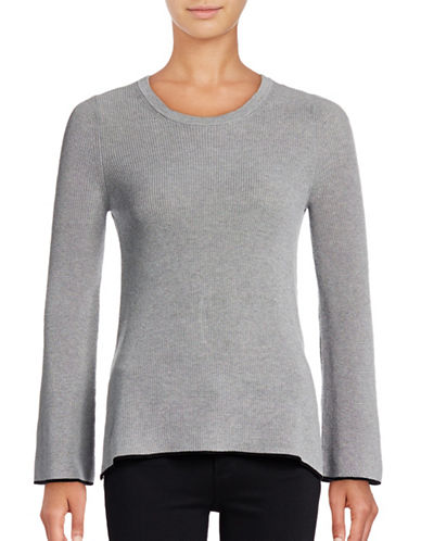 Vince Camuto Crew Neck Tipped Sweater-GREY-X-Small 88855888_GREY_X-Small