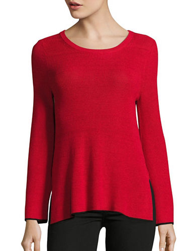 Vince Camuto Crew Neck Tipped Sweater-RED-Medium 88855895_RED_Medium