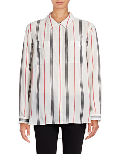 Two By Vince Camuto Modern Stripe Split Back Shirt-RED-X-Small