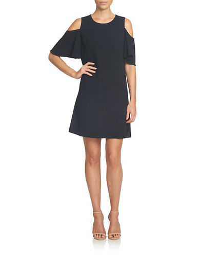 Cece Crepe Cold-Shoulder Shift Dress-BLACK-2
