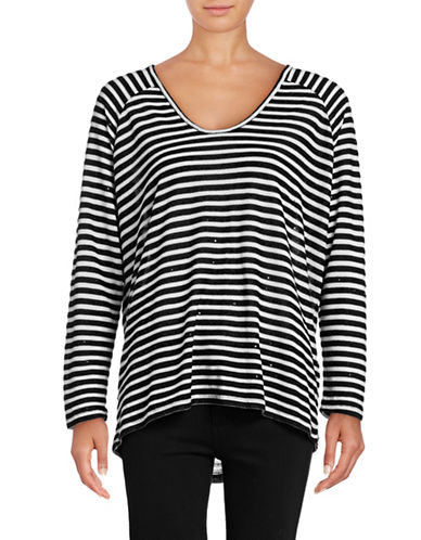 Two By Vince Camuto Sequin Stripe Saturday Sweater-BLACK-Small