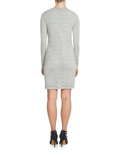 1 State Winter Garden Sheer Stripe Bodycon Dress-GREY-X-Small