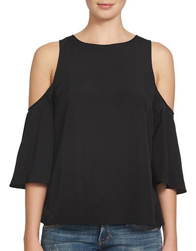 Image of 1 State Cold Shoulder Flounce Sleeve Blouse-BLACK-Large