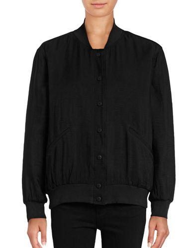 Two By Vince Camuto Rumpled Lightweight Bomber Jacket-BLACK-X-Small