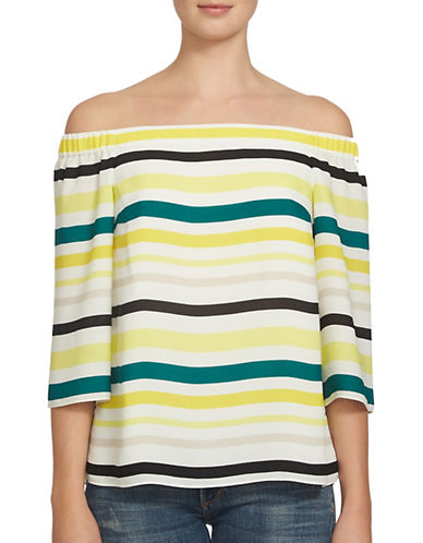 1 State Off-the-Shoulder Striped Blouse-YELLOW-Small