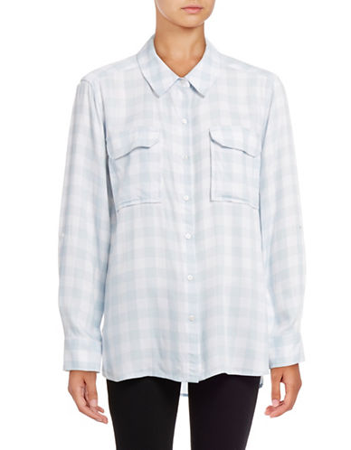 Two By Vince Camuto Gingham Utility Shirt-GREY-X-Small