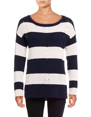 Two By Vince Camuto Stripe Cable Stitch Pullover-BLUE-Medium