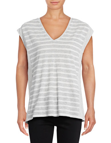 Two By Vince Camuto Mixed Ink Stripe V-neck T-Shirt-GREY-X-Small