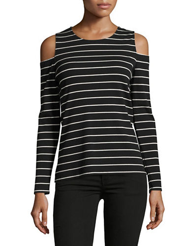 Vince Camuto Striped Cold-Shoulder Top-GREY-X-Small 89032384_GREY_X-Small
