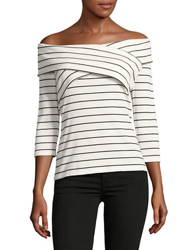 Vince Camuto Striped Off-Shoulder Top-NATURAL-Large