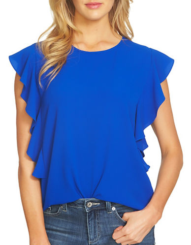 Cece Cap Sleeve Cascading Ruffle Blouse-ROYAL BLUE-Small