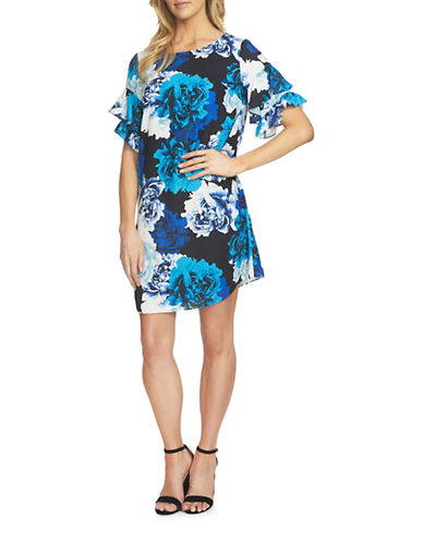 Cece Tiered Ruffle Sleeve Bouquet Shift Dress-BLACK MULTI-6