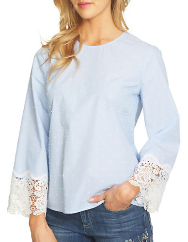 Cece Lace Cuff Blouse-BLUE-Large