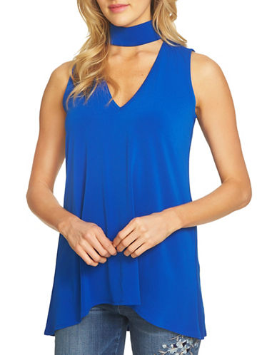 Cece Sleeveless Choker Crepe Knit Top-ROYAL BLUE-X-Small