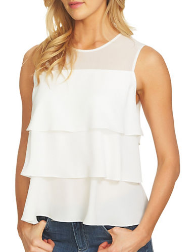 Cece Sleeveless Chiffon Blouse-NATURAL-X-Small