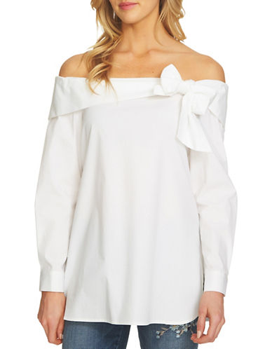 Cece Off-Shoulder Bow Poplin Blouse-WHITE-Medium