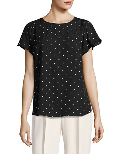 Cece Polka Dot Flutter Sleeve Top-BLACK MULTI-Medium