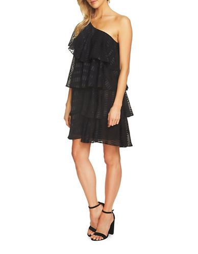 Cece Ruffled One-Shoulder Jacquard Swing Dress-BLACK-8