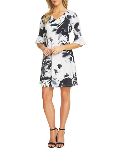 Cece Romantic Bloom Swing Dress-WHITE/BLACK-Large