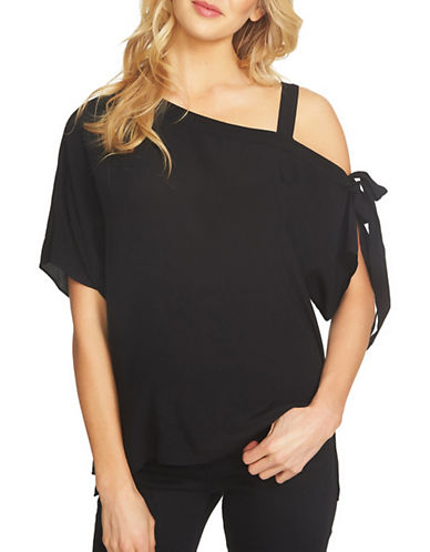 1 State Off-Shoulder Tie Sleeve Blouse-BLACK-Medium