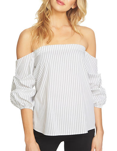 1 State Off-the-Shoulder Voluminous Sleeve Top-WHITE/BLACK-Medium