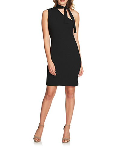 1 State Tie Neck One-Shoulder Dress-BLACK-Medium