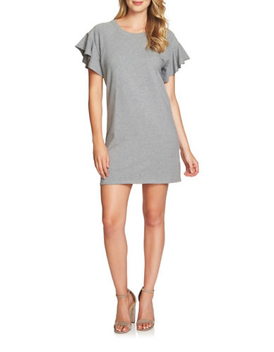 1 State French Terry Shift Dress-GREY-X-Large