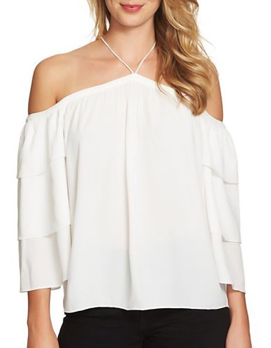 1 State Tiered Sleeve Cold Shoulder Top-WHITE-Small