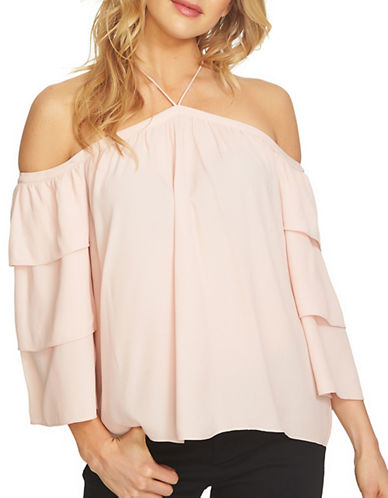 1 State Tiered Sleeve Cold Shoulder Top-PINK-X-Large
