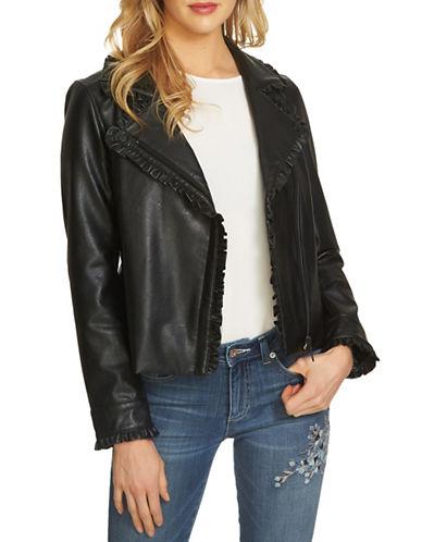 Cece Ruffled Moto Jacket-BLACK-Small