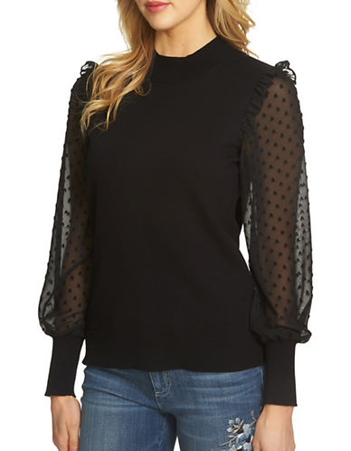 Cece Swiss Dot Chiffon Sleeve Sweater-BLACK-Medium