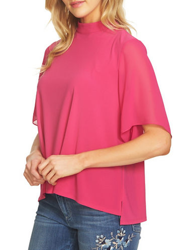 Cece High Neck Chiffon Top-PINK-Large