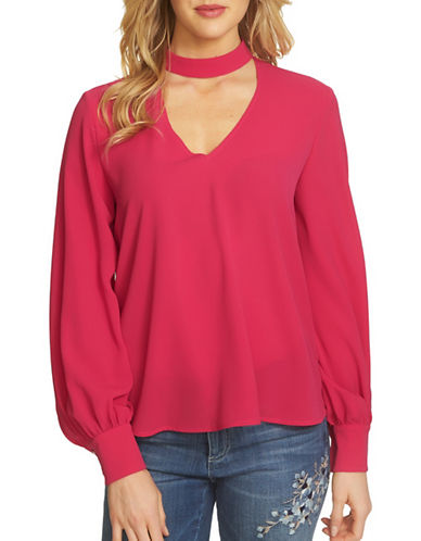 Cece Long Sleeve Choker Blouse-PINK-Small