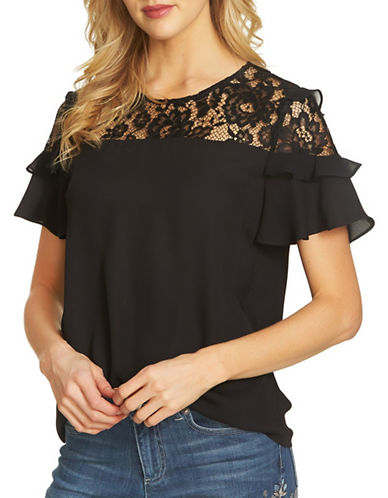Cece Lace Yoke Crepe Blouse-BLACK-Medium