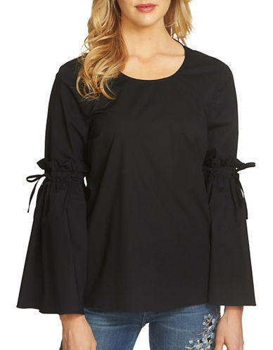 Cece Tie Bell Sleeve Poplin Top-BLACK-Small